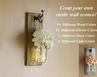 Rustic Wall Decor, Mason Jar Wall Sconces, Distressed Wood, Farmhouse Decor, Shabby Chic Decor, Mason Jar Wall Decor, Lighted Wall Sconces