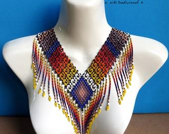 Mexican Huichol Beaded Tribal Necklace COG-0019 Mexican necklace - Mexican Jewelry - Huichol Necklace - Huichol beadwork - Huichol art