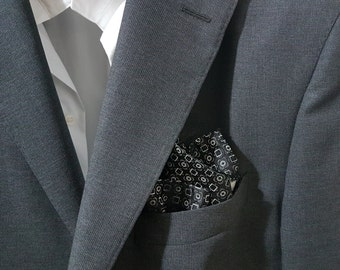 SILK Pocket Square in Silver Charcoal Grey Black