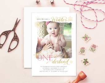 Winter ONEderland Snowflake Holiday Birthday Invite, Holiday Birth Announcements, Winter First Birthday Invites, Christmas Announcements