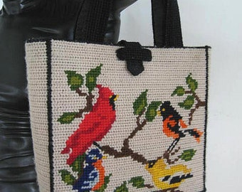 Bird Needlepoint Purse / Vintage Needlepoint Purse / Needlepoint handbag / Needlepoint tote / 50s Needlepoint handbag