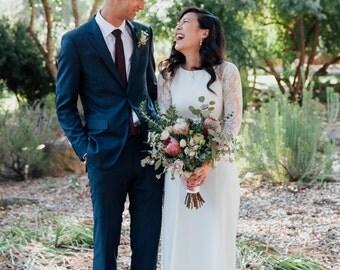 "Long Sleeve Wedding Dress, A-line Lace Wedding Dress with Open Back - ""Liz"", Unique Wedding Dress, Bohemian Wedding Dress, Custom Order"