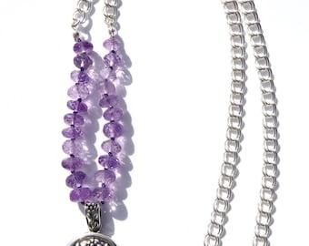 Amethyst Necklace, Sterling Amethyst Flower Pendant, Sterling Silver Chain Gemstone Necklace, Minimalist Necklace, Lavender Amethyst Gems
