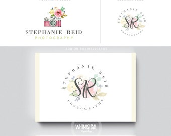 WATERCOLOR camera PHOTOGRAPHY 2 logo businesscards - floral camera- feminine branding- Brand Identity for Children and family photographer