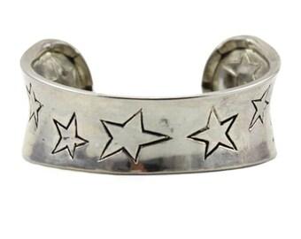 Wide Silver Star Cuff Bracelet, Wide Silver Cuff Bracelet, Silver Star Bracelet, Wide Silver Bracelet