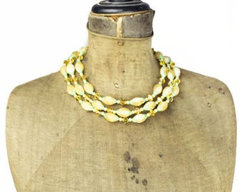 Orange Bead Necklace, Orange Triple Strand Necklace, Vintage Orange Necklace, Orange Crystal Necklace