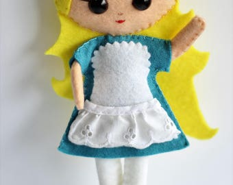 Alice in Wonderland Felt Doll, Girls Doll