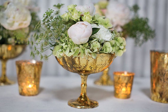 Gold mercury glass candle holders votive flower
