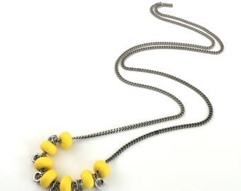 Yellow silver beads necklace, yellow silicone beads, industrial yellow necklace, long yellow necklace, nulika