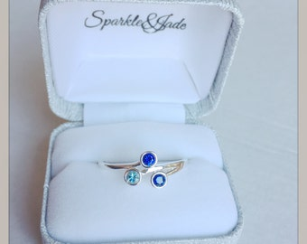 Personalized Bezel Set Birthstone Ring in Sterling Silver, 10k, 14k White or Yellow Gold with 2 3 or 4 Stones for Mother