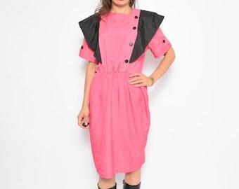 Vintage 80's Color Blocking Pink Dress / Button Midi Pink Dress - Size Large