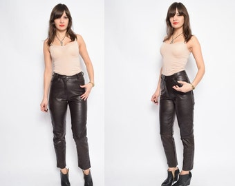 Vintage 90's Brown High Waisted Leather Pants / Real Leather Brown Pants / Genuine Leather Pants - Size Extra Small