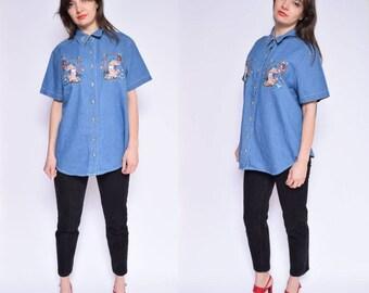 Vintage 90's Embroidered Denim Shirt / Teddy Bear Embroidered Denim Blouse / Blue Denim Button Shirt - Size Extra Large/XL