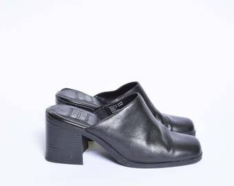 Vintage 90's Chunky Black Leather High Heel Sandal Clogs