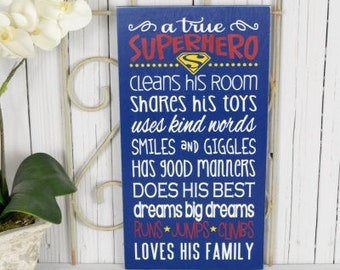 A true superhero, Super hero sign, Superman Decor,  9.5x18 Solid Wood Sign