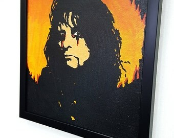 Alice Cooper RETRO- Wall Art Giclee Canvas Framed Paint,Painting, Poster,Print
