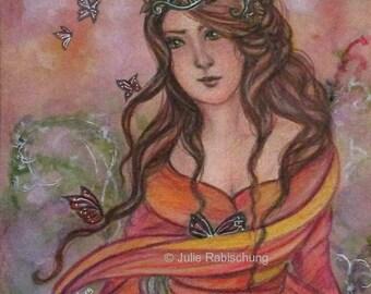 butterflies, woman, art print