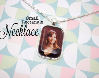 Custom Photo Necklace - Photo Jewelry - Silver Photo Necklace - Personalized Photo Pendant - Picture Necklace - 20 x 30 mm Rectangle