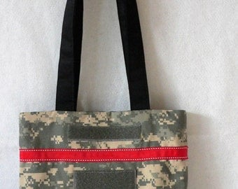 Limited Quantity Sale! Army ACU Purse with Red and White Trim and Velcro Patches