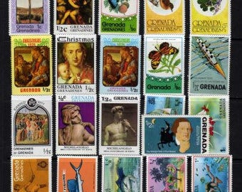 30 Diff Grenada Stamps, Unused Stamps, Postage Stamps, Stamp Collection, Stamps, Caribbean, Caribbean Stamps, Grenadines Postage Stamps
