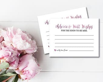 Printable Bridal Shower Games, Advice Card, Well Wishes for the Soon To Be Mrs., Wine Bridal Shower Games, Printable Wedding Shower Game