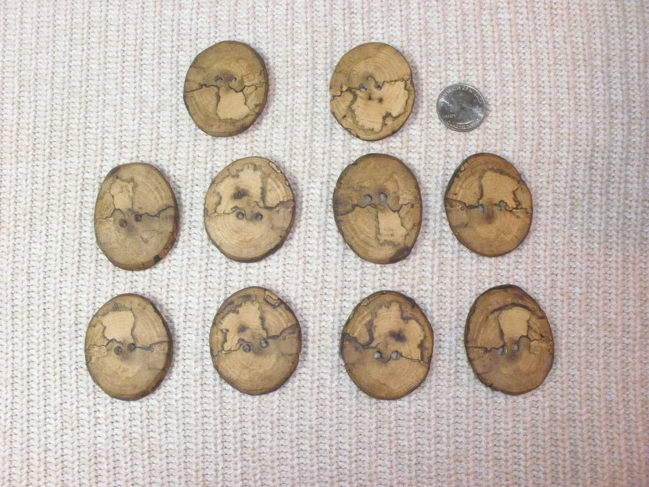 Large spalted oak wood tree branch buttons