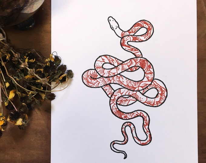 Snake + Peonies Letterpress Print | Botanical Illustration | Floral Drawing | Snake Drawing | Snake Illustration | Snake Art