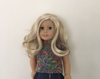 Hand crocheted top for 18 inch doll such as American Girl