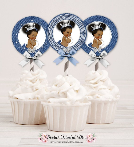 Cupcake Topper Denim Amp Diamonds Blue Silver Crown Girl
