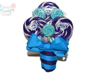 Purple and Blue Lollipop Bridesmaid Bouquet, Maid of Honor Rainbow Bouquet, Turquoise Bouquet, SmallWedding Bouquet, Peacock theme Bouquet
