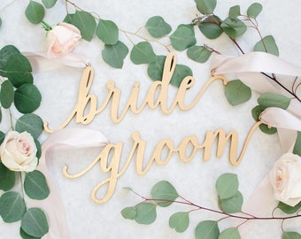 "Laser Cut ""bride & groom"" Wood Chair Signs - (Set of TWO) 13"" x 5"" Feminine Font Wedding Chair Sign - Gold Engagement Party Event Decor"
