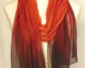 Reserved for Karlen - Ombre Crinkle Silk Chiffon Scarf - Deep orange to red to dark brown/black
