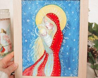 "Table easel, watercolor color ""Sancta Maria"", Madonna and child Jesus, Nativity, unique piece, Catholic religious art, frame wood"