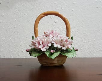 Capodimonte pink flowers basket Italy