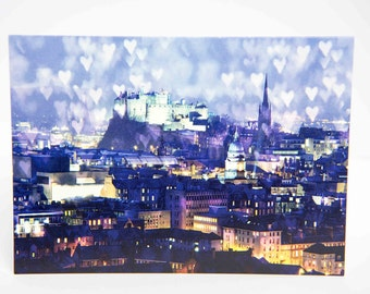 Edinburgh Castle Card, Edinburgh Skyline, Greetings Card, Blank Card, Love, Happy Birthday, Anniversary