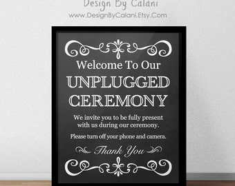 Unplugged Ceremony Sign, Chalkboard Wedding Sign, printable wedding ceremony sign, Chalkboard themed Wedding unplugged sign - DIGITAL FILE