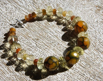 Yellow WEB AGATE BRACELET, Lemon quartz, S.S. Yellow & black /Natural faceted gemstones/Cat's eye/ spider web matrix/ organic/ everyday/Boho
