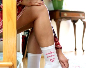 Sorority Greek Letters With Heart Digitally Printed on White Crew Socks - Sold by the Pair - Select Your Sorority