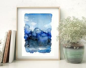 Blue nordic landscape art print from watercolor painting by Annemette Klit. Blue skies. Minimalist landscape painting. Landscape wall art.