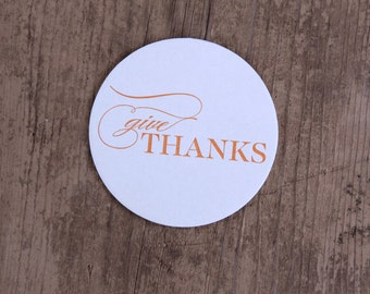 Give Thanks Letterpress Coasters - Set of Ten