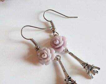 Eiffel Tower earrings-lilac