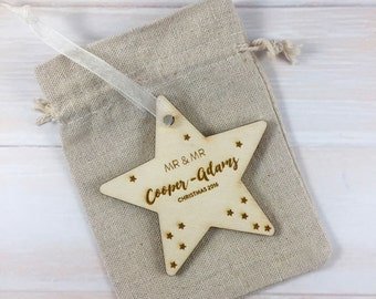 Mr & Mr First Christmas 2017 // Personalised Wooden Star Christmas Tree Decoration