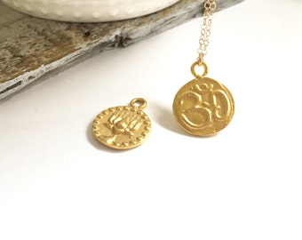 Gold Coin OM necklace, Double sided OM and Lotus necklace, Om Medallion Necklace, AUM Necklace, Yoga Jewelry, Spiritual Jewelry