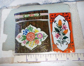 Salvaged Tin Cuts - 1 Ounce - 3 Pieces - Mixed Rustic Floral - Smoothed Edges - Brown, Orange - Bright Flowers - Raw Tin 4 Jewelry - no. 16
