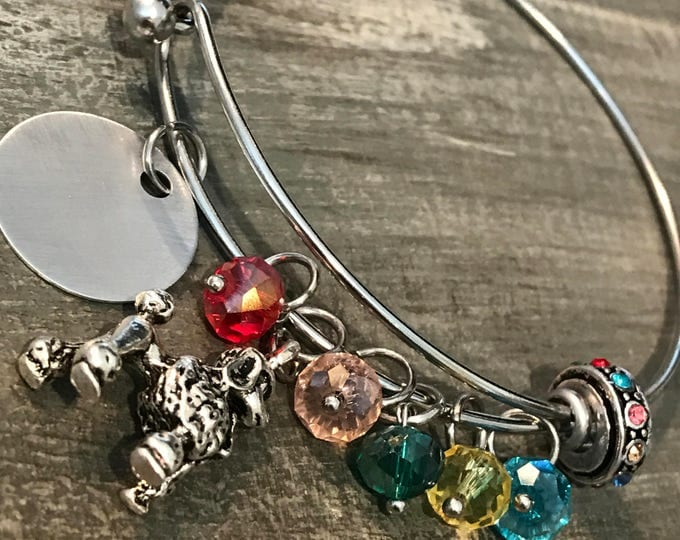 Rainbow bridge poodle pet loss memorial bangle bracelet