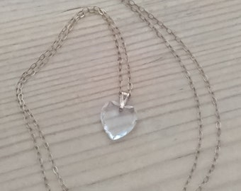 Vintage 9ct gold chain with a small crystal heart