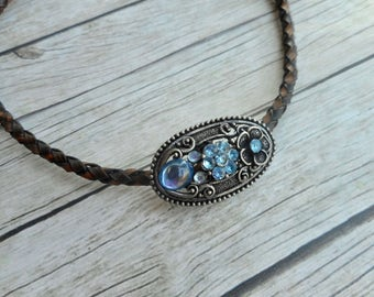 Antique brown braided leather choker necklace with aqua blue rhinestones charm ladies boho art nouveau jewelry handmade jewelery