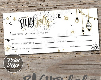 Christmas, Holly Jolly, printable Gift Certificate template, direct sales, photography, gift voucher, gift card, instant digital download