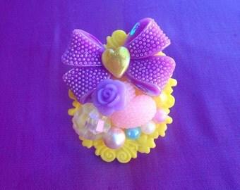 Yellow and Purple Kawaii Statement Ring, sweet lolita, girly, chunky, fairy kei, gyaru, Harajuku