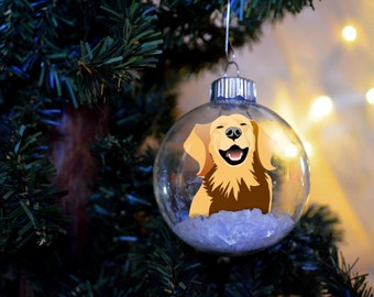 Golden Retriever Christmas Ornament personalized memorial floated paper glass bulb dog gift